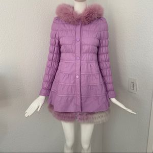 Lavender quilted Lamb leather fox fur coat